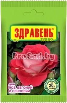 Здравень Турбо (удобрение для роз, бегоний и сенполий)